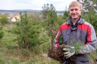Николай Козлов высадил молодые деревья в роще Могилице